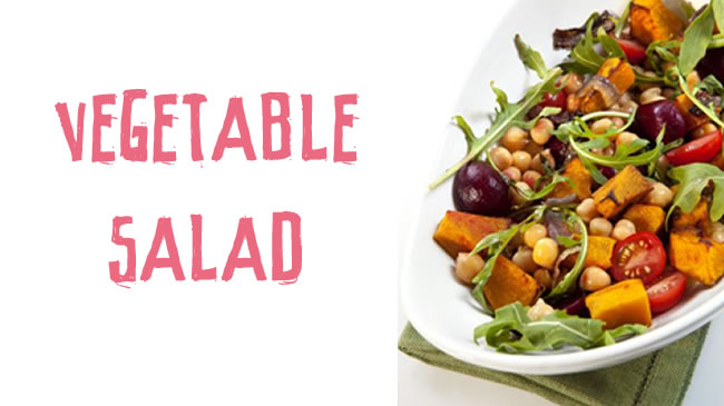 Roasted vegetable, rocket and walnut salad