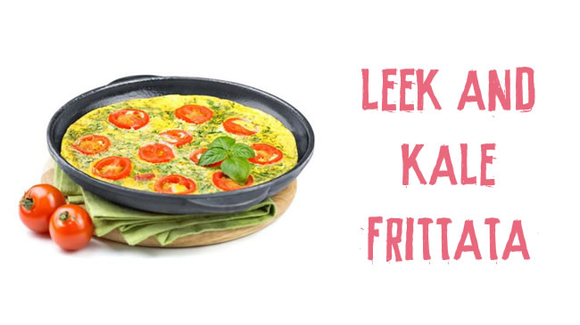Leek & kale frittata