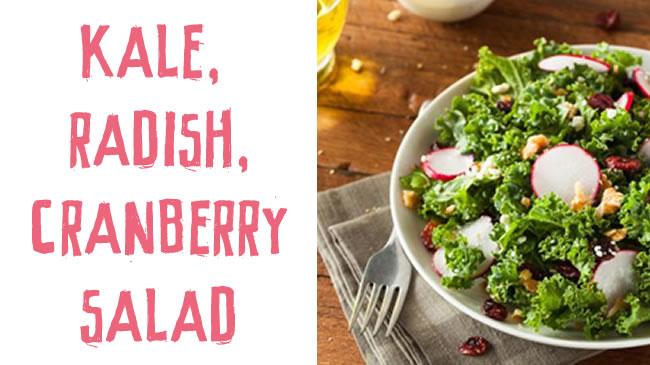 Kale, radish and cranberry salad with toasted hazelnuts
