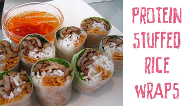 Protein stuffed rice wraps