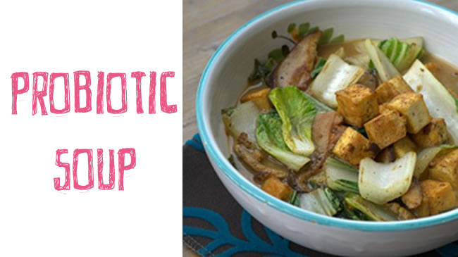 Miso, mushroom and pak choi soup with tempeh