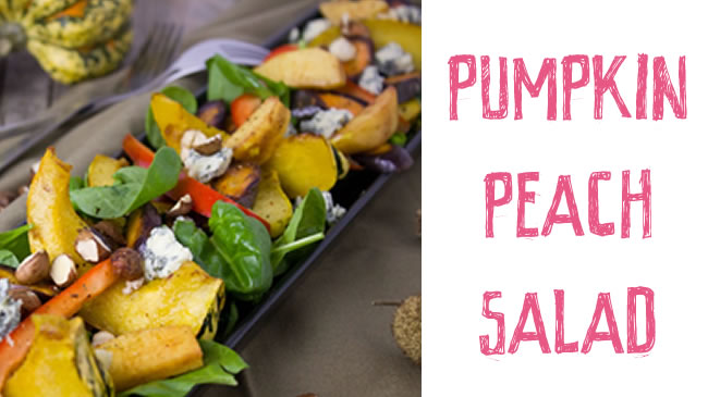 Delicious pumpkin and peach salad with hazelnuts & ricotta