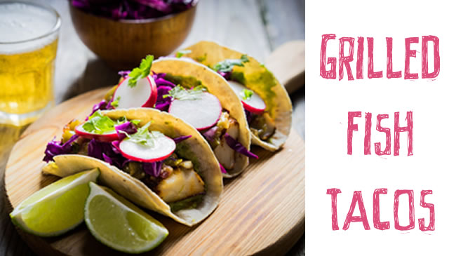 Grilled fish tacos with radish and cabbage slaw